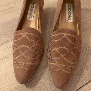 3/$75 tan dress shoes with small heel